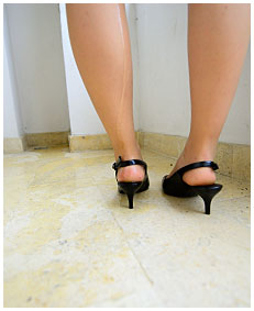 hotel desperation and wetting peeing in tight pencil skirt and pantyhose 01