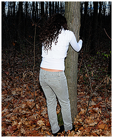 sexy girl tied to a tree pisses herself wetting desperation pissing jeans 02