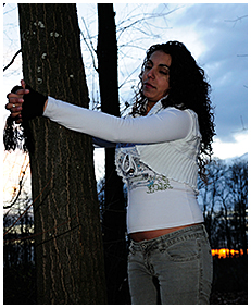 sexy girl tied to a tree pisses herself wetting desperation pissing jeans 03