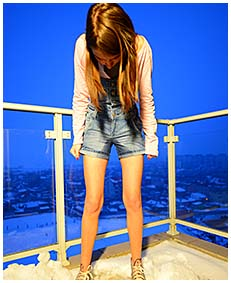 beatrice wets her jeans overalls peeing herself on the balcony 05