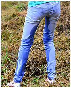 Gathering hay Beatrice wets her jeans on purpose