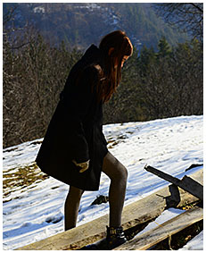 teen pisses gray tights on a orchard in winter 00