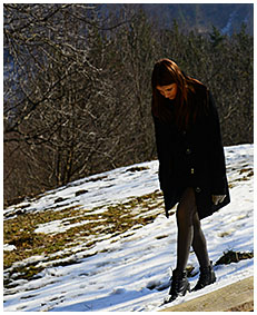 teen pisses gray tights on a orchard in winter 01