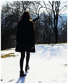 teen pisses gray tights on a orchard in winter 02