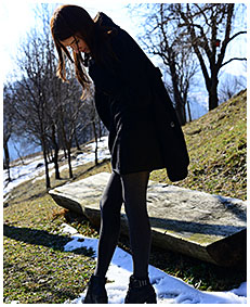 teen pisses gray tights on a orchard in winter 03