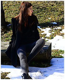 teen pisses gray tights on a orchard in winter 05