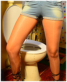 Debbie pisses her jeans shorts and pantyhose