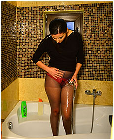 pissed pantyhose then shower clothed 02