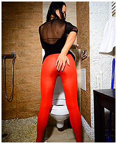 wets pantyhose over the toilet 05