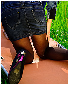 Party girl wets pantyhose