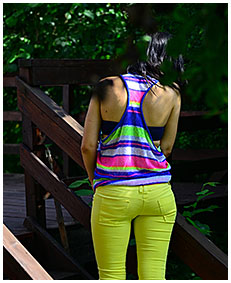 yellow pants drenching with monica 01