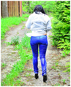 lady pees her tight satin pants 05