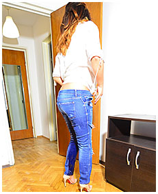 sexy woman tries on jeans then pisses them 04