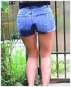 jeans shorts about to piss herself 04