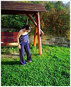 dee pissing on a swing wetting herself her pants piising in pants 00048