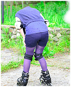 roller skate pee accident shorts and pantyhose 00
