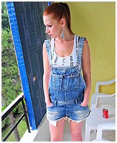 sexy girl wearing jeans overalls bulging bladder explosion panties 02