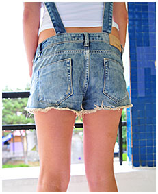 sexy girl wearing jeans overalls bulging bladder explosion panties 03