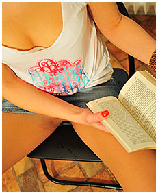 reading book dominika pees her pantyhose skirt 00