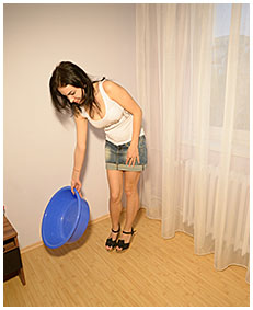 antonia wets her panties over a plastic bowl pissing her panties 19