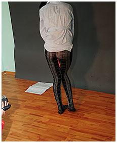 Alice wets herself peeing patterned pantyhose pissing her pants nylons tights 03
