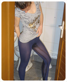 Wetting myself wearing blue lycra pantyhose. I love it!