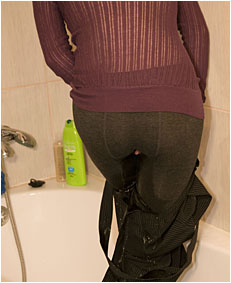 alice peeing in pantyhose nylons and loose shorts w broken toilet0027