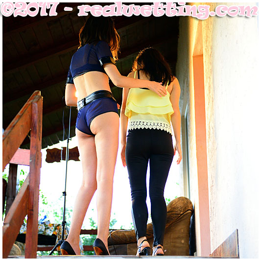 Wetting body search with Antonia and Debbie pissing tight black pants and stripper police uniform