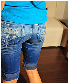 antonia is wetting her denim capris as she just woke up 01