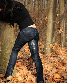 antonia pees her jeans tied to a tree wetting her jeans 03