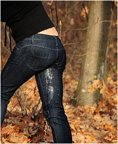 antonia pees her jeans tied to a tree wetting her jeans 06