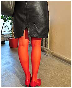 bianca is pissin her red stockigns and black leather dress 02