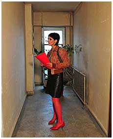 bianca is pissin her red stockigns and black leather dress 03