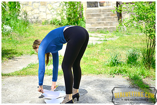 Claudia wets her tights over the bills and invoices she was hading over to her boss, now she has some explaining to do!
