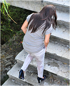climbing the stairs dee wets herself peeing her white pants 25