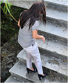 climbing the stairs dee wets herself peeing her white pants 26