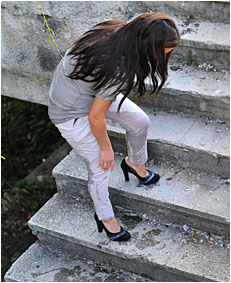 climbing the stairs dee wets herself peeing her white pants 32