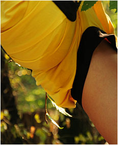 dee climbing down a tree pees her yellow shorts3