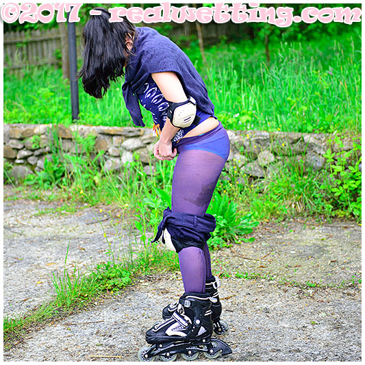 Rollerblading accident wetting pantyhose and shorts