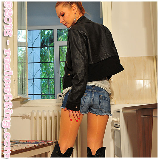 Going out Dominika has an accident in her jeans shorts and pantyhose