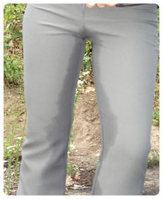Full bladder, accidental piss in grey business pants