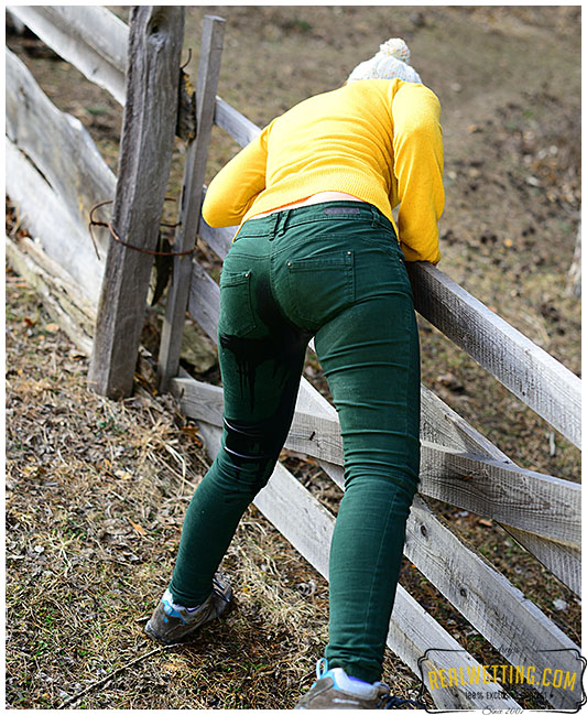 Green jeans trespassing Gemma makes wet spot in her pants