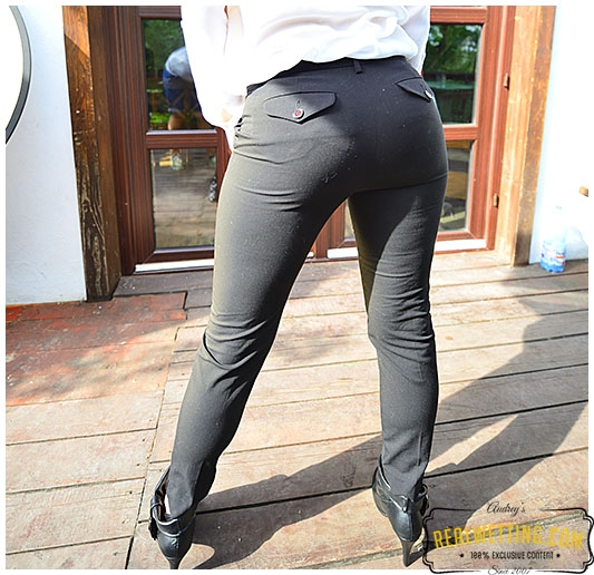 Office lady pisses her tight office pants in front of locked door.