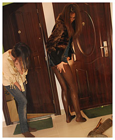 Alice pisses in her jeans and Natalie wets her jeans hotpants and brown lycra pantyhose nylons