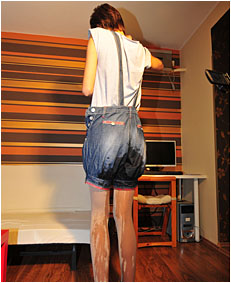 natalie wets her overalls and grey pantyhose 66