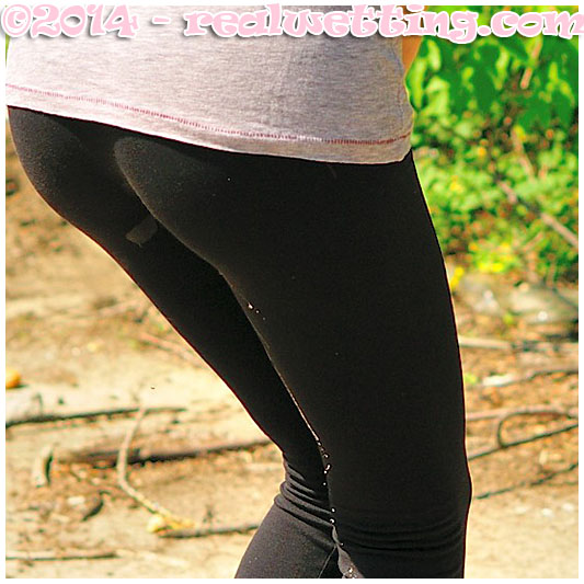 natalie looking for a place to relieve her full bladder ends up peeing herself wetting her tights