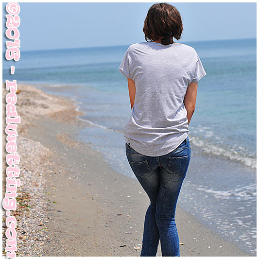 Tight jeans soaking on the beach with Natalie