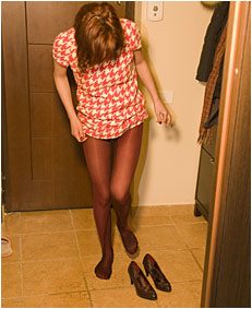peeing her pantyhose as an escuse not to go out 0103