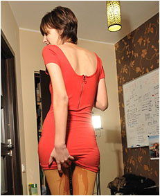 pissing herself 050 in the red dress