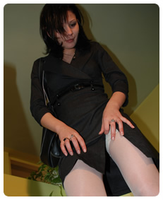 sales woman wets her business suit pissing her nylons wetting her pants